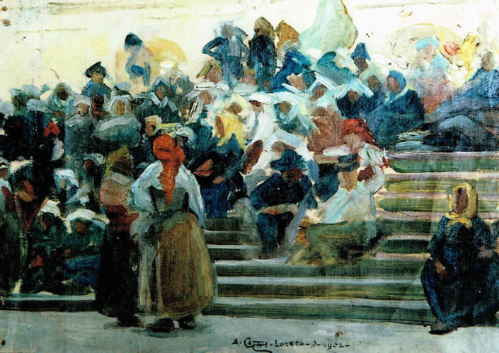 Pellegrini abruzzesi sulle scale della Chiesa di Loreto